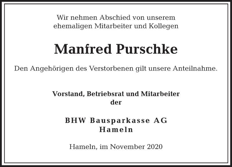 Traueranzeige für Manfred Purschke vom 25.11.2020 aus Deister- und Weserzeitung