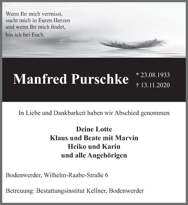 Traueranzeige für Manfred Purschke vom 21.11.2020 aus Deister- und Weserzeitung