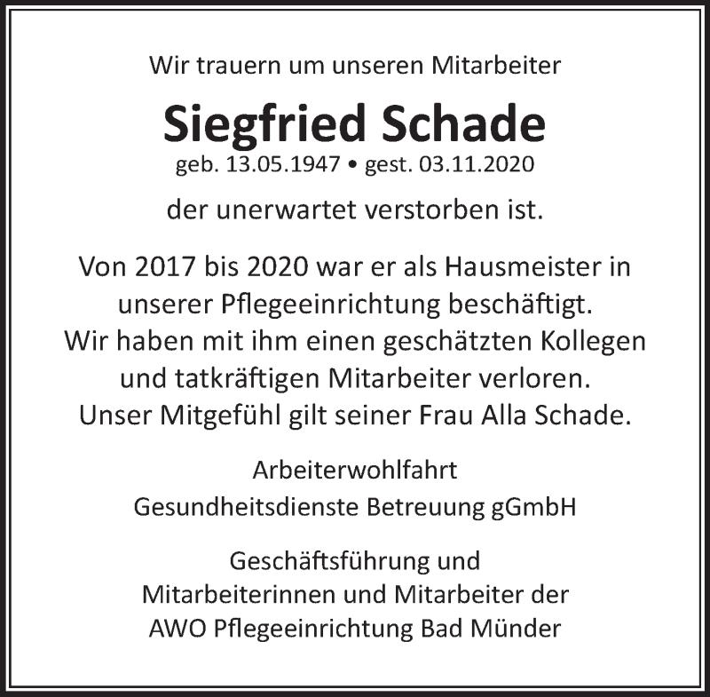 Traueranzeige für Siegfried Schade vom 20.11.2020 aus Neue Deister-Zeitung