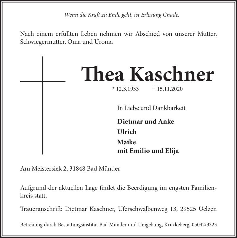 Traueranzeige für Thea Kaschner vom 21.11.2020 aus Neue Deister-Zeitung