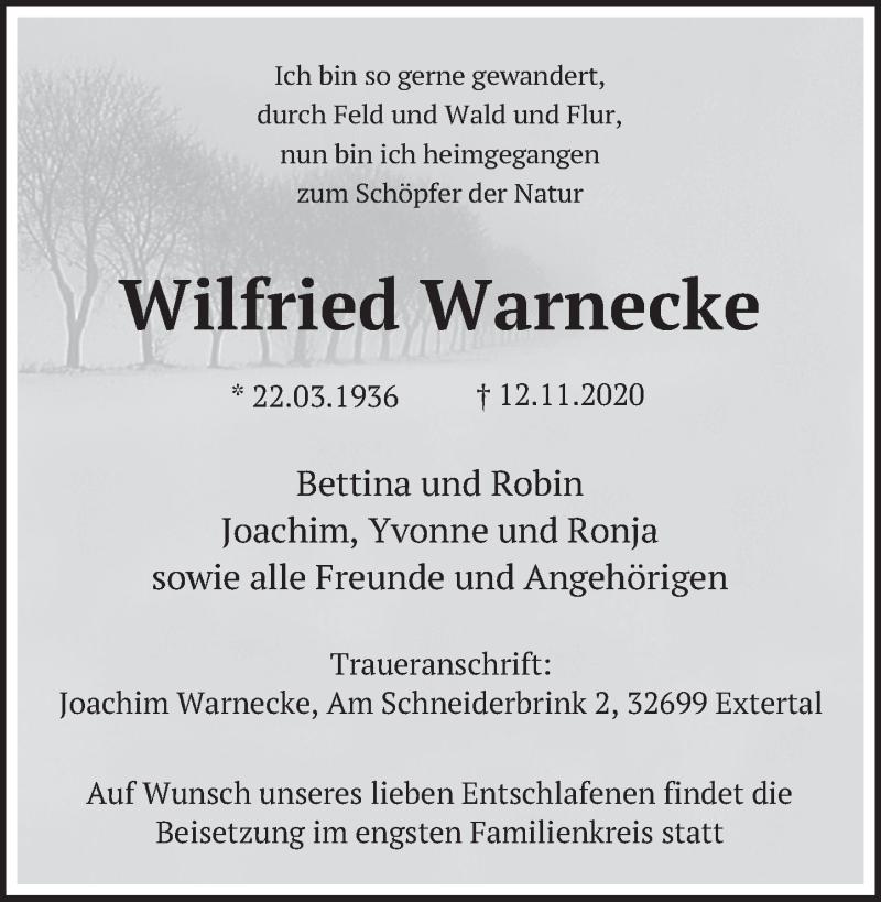 Traueranzeige für Wilfried Warnecke vom 14.11.2020 aus Deister- und Weserzeitung