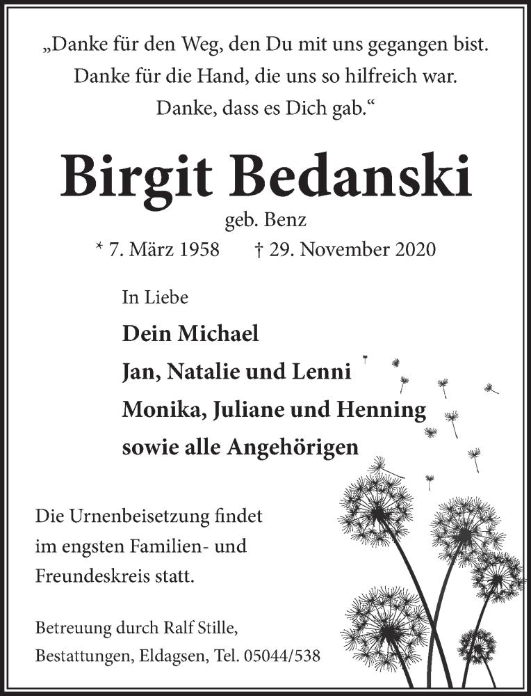 Traueranzeige für Birgit Bedanski vom 05.12.2020 aus Neue Deister-Zeitung