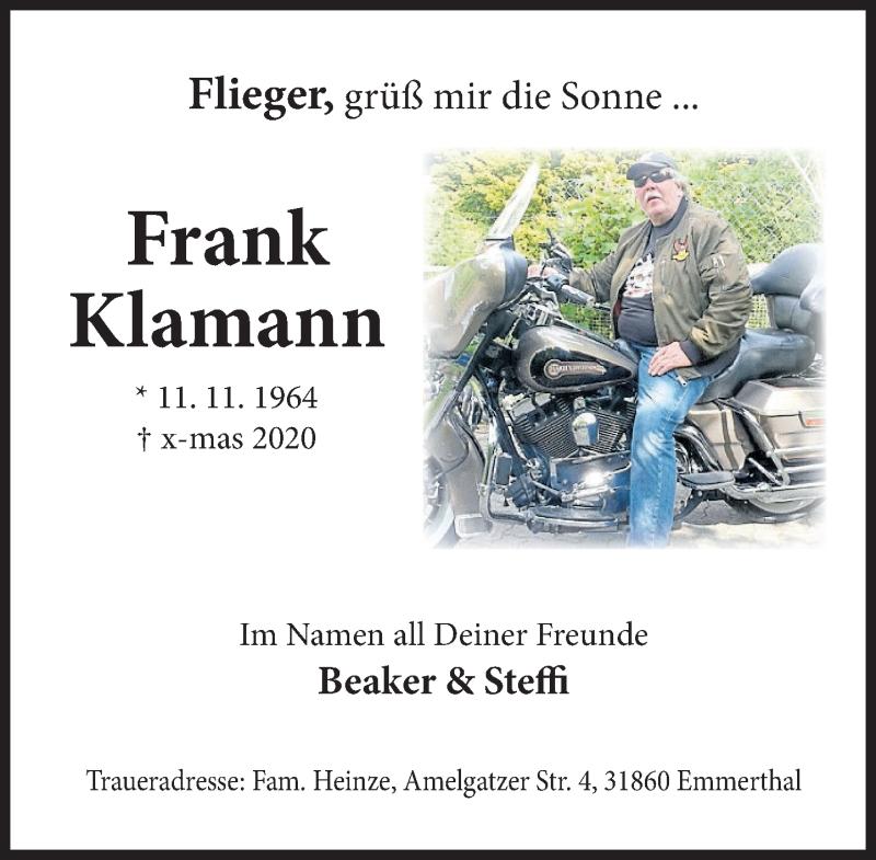 Traueranzeige für Frank Klamann vom 02.01.2021 aus Deister- und Weserzeitung