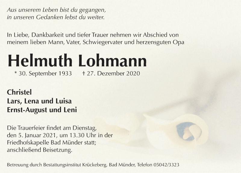 Traueranzeige für Helmuth Lohmann vom 30.12.2020 aus Neue Deister-Zeitung