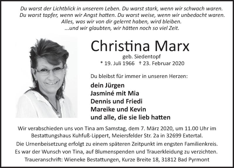Traueranzeige für Christina Marx vom 29.02.2020 aus Deister- und Weserzeitung