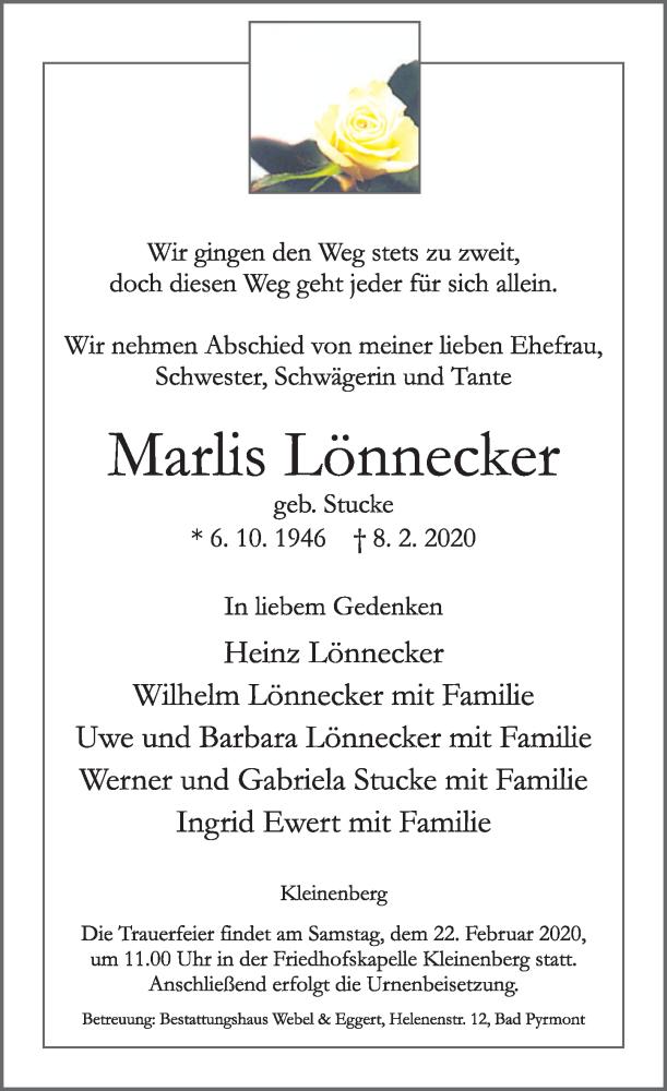 Traueranzeige für Marlis Lönnecker vom 15.02.2020 aus Deister- und Weserzeitung