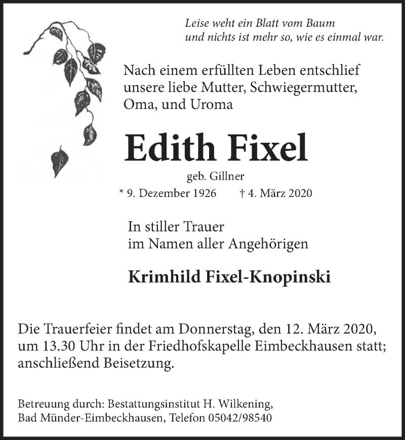 Traueranzeige für Edith Fixel vom 07.03.2020 aus Neue Deister-Zeitung