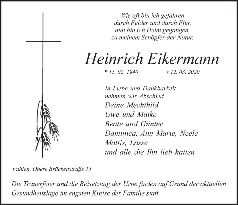 Traueranzeige für Heinrich Eikermann vom 21.03.2020 aus Deister- und Weserzeitung