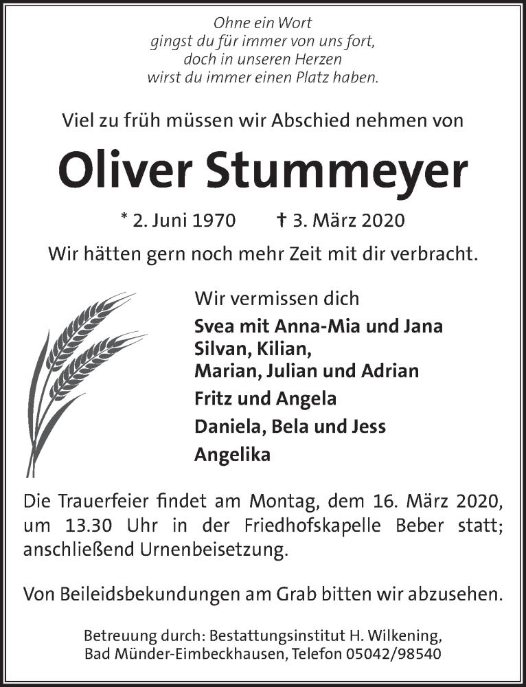 Traueranzeige für Oliver Stummeyer vom 11.03.2020 aus Neue Deister-Zeitung