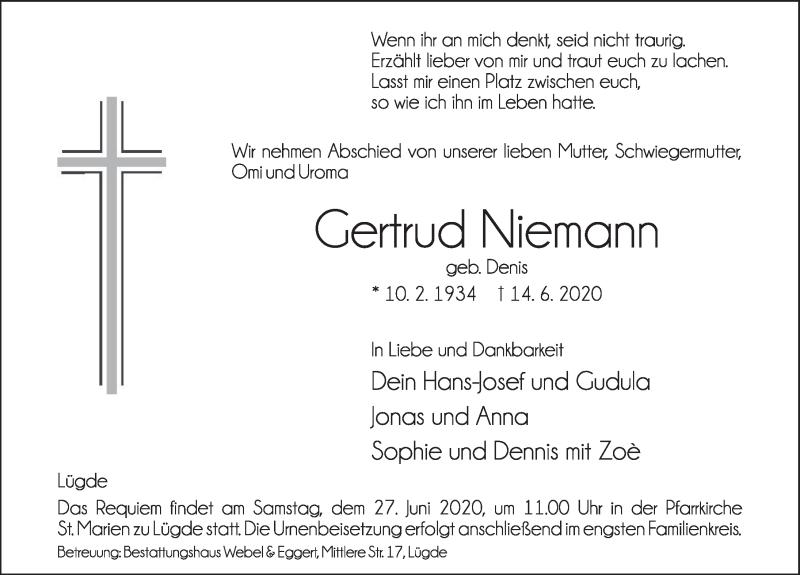 Traueranzeige für Gertrud Niemann vom 27.06.2020 aus Deister- und Weserzeitung