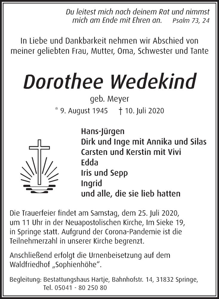 Traueranzeige für Dorothee Wedekind vom 18.07.2020 aus Neue Deister-Zeitung