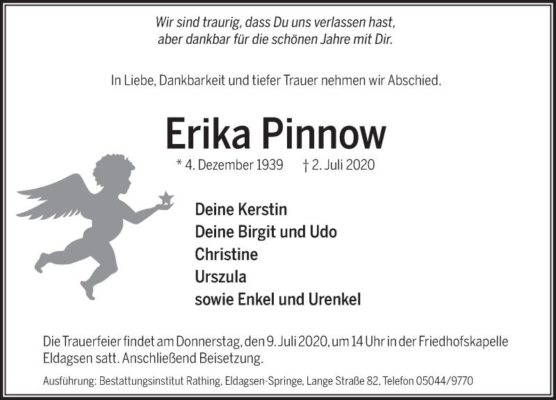 Traueranzeige für Erika Pinnow vom 07.07.2020 aus Neue Deister-Zeitung