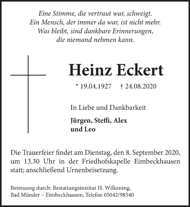Traueranzeige für Heinz Eckert vom 29.08.2020 aus Neue Deister-Zeitung