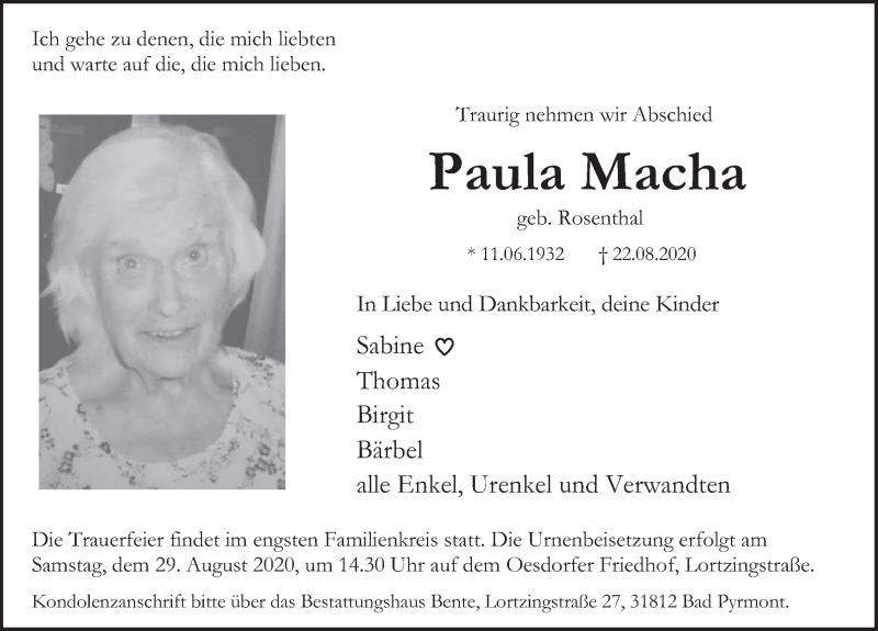 Traueranzeige für Paula Macha vom 27.08.2020 aus Deister- und Weserzeitung