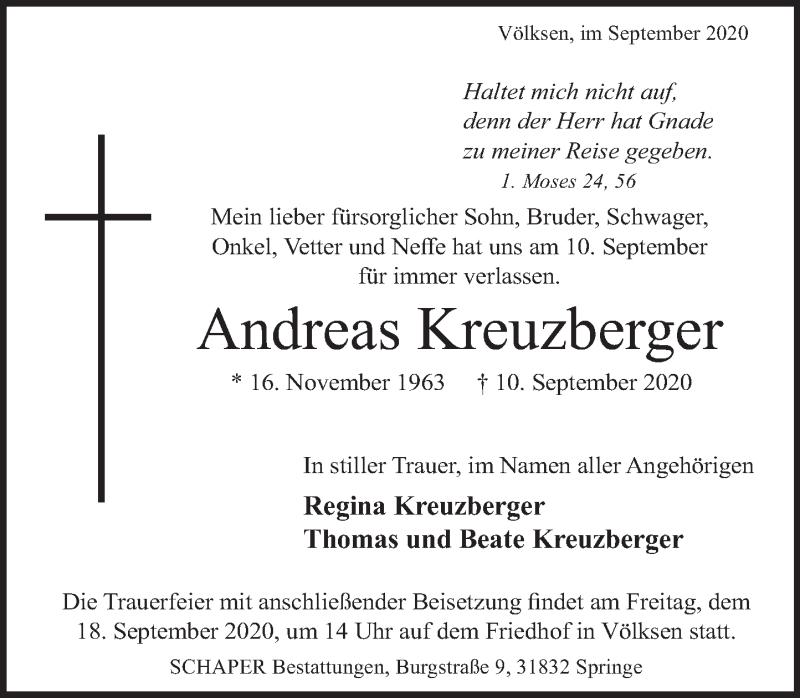 Traueranzeige für Andreas Kreuzberger vom 15.09.2020 aus Neue Deister-Zeitung