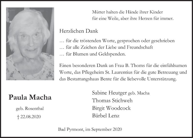 Traueranzeige für Paula Macha vom 26.09.2020 aus Deister- und Weserzeitung