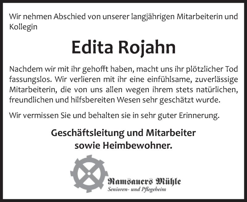 Traueranzeige für Edita Rojahn vom 23.01.2021 aus Deister- und Weserzeitung