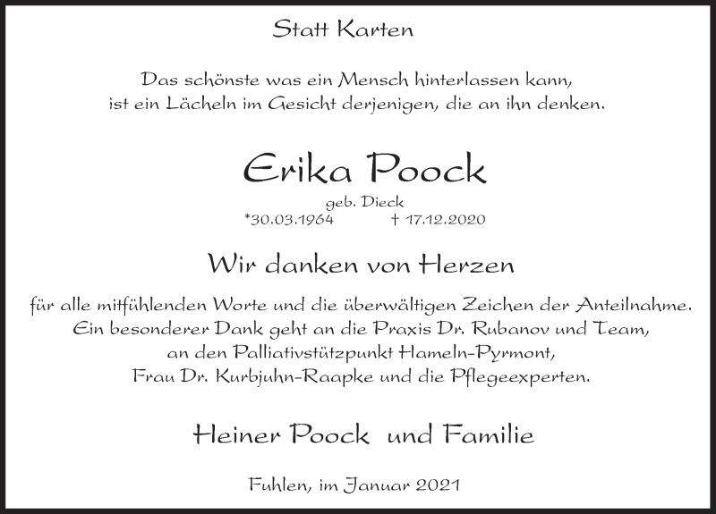 Traueranzeige für Erika Poock vom 16.01.2021 aus Deister- und Weserzeitung