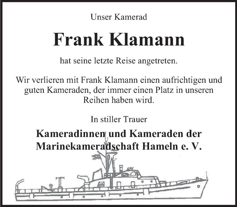 Traueranzeige für Frank Klamann vom 16.01.2021 aus Deister- und Weserzeitung