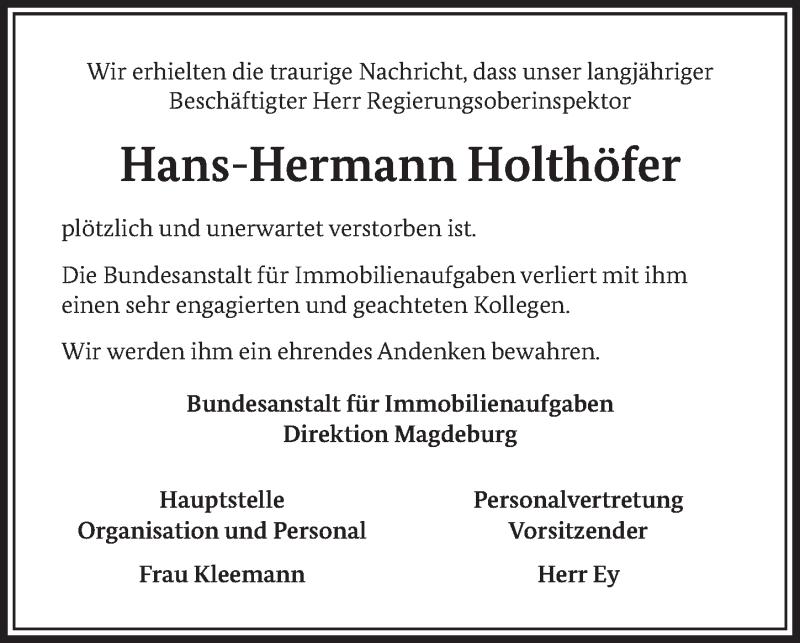 Traueranzeige für Hans-Hermann Holthöfer vom 23.01.2021 aus Deister- und Weserzeitung