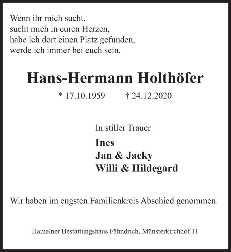 Traueranzeige für Hans-Hermann Holthöfer vom 16.01.2021 aus Deister- und Weserzeitung