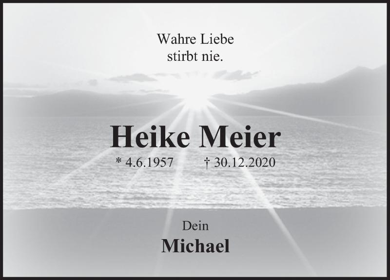 Traueranzeige für Heike Meier vom 06.01.2021 aus Deister- und Weserzeitung