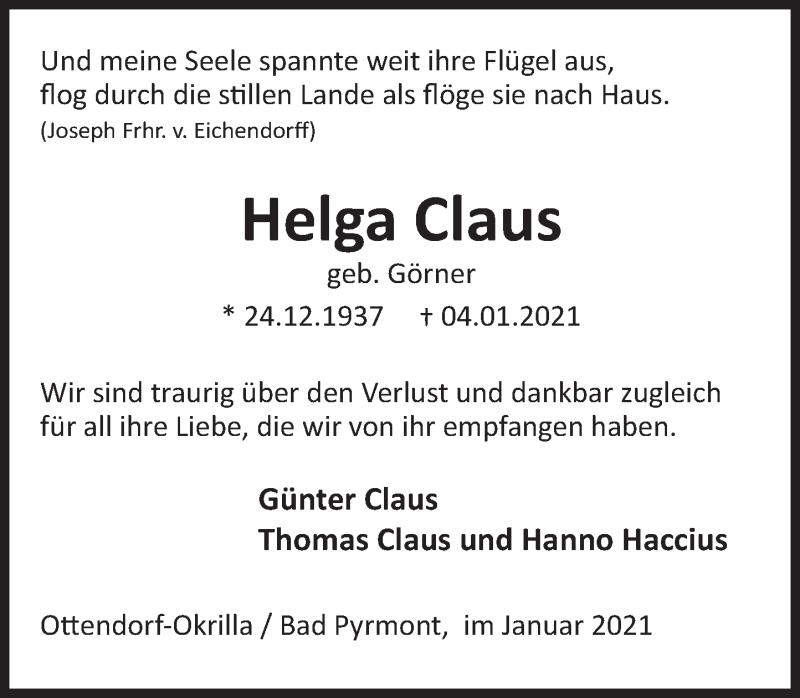 Traueranzeige für Helga Claus vom 06.01.2021 aus Deister- und Weserzeitung