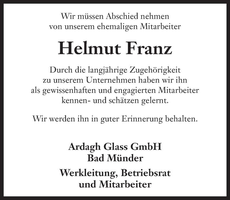 Traueranzeige für Helmut Franz vom 13.01.2021 aus Neue Deister-Zeitung