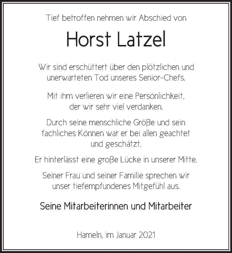Traueranzeige für Horst Latzel vom 09.01.2021 aus Deister- und Weserzeitung