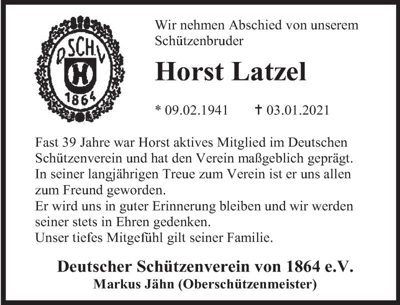 Traueranzeige für Horst Latzel vom 13.01.2021 aus Deister- und Weserzeitung