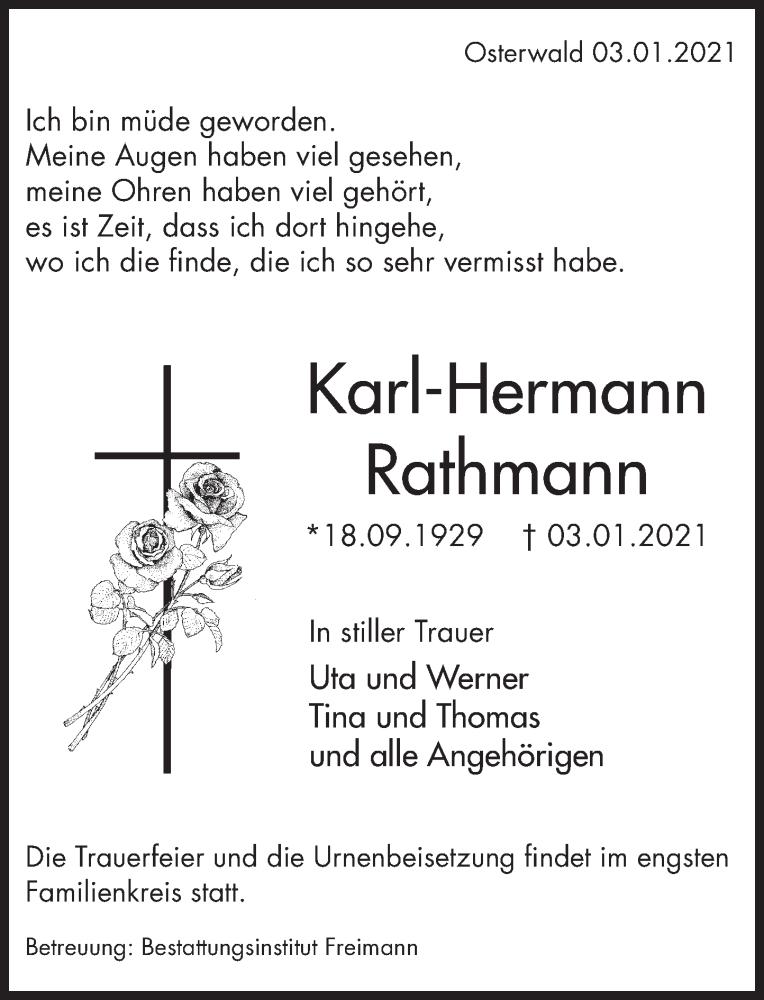 Traueranzeige für Karl-Hermann Rathmann vom 09.01.2021 aus Deister- und Weserzeitung