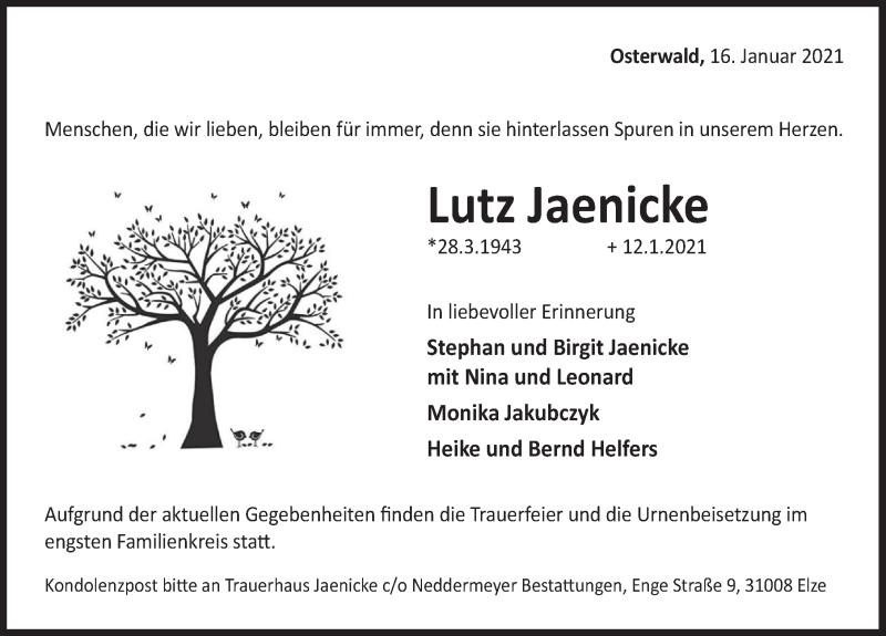Traueranzeige für Lutz Jaenicke vom 16.01.2021 aus Deister- und Weserzeitung