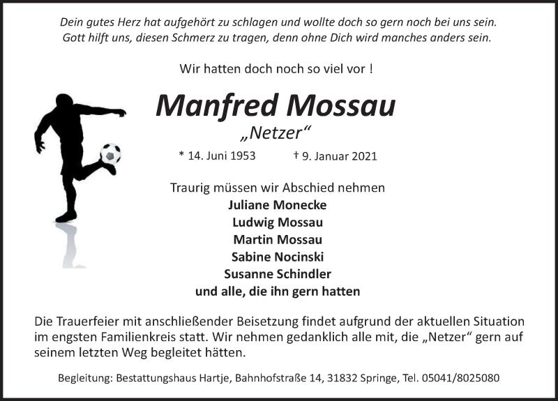 Traueranzeige für Manfred Mossau vom 16.01.2021 aus Neue Deister-Zeitung
