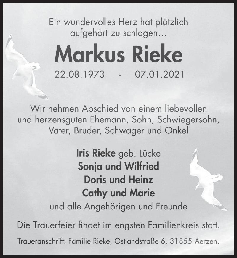 Traueranzeige für Markus Rieke vom 16.01.2021 aus Deister- und Weserzeitung