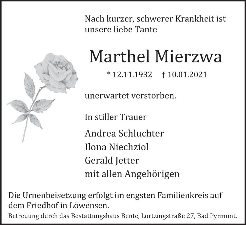 Traueranzeige für Marthel Mierzwa vom 16.01.2021 aus Deister- und Weserzeitung
