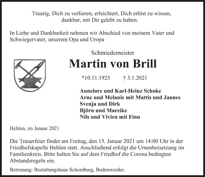 Traueranzeige für Martin von Brill vom 09.01.2021 aus Deister- und Weserzeitung