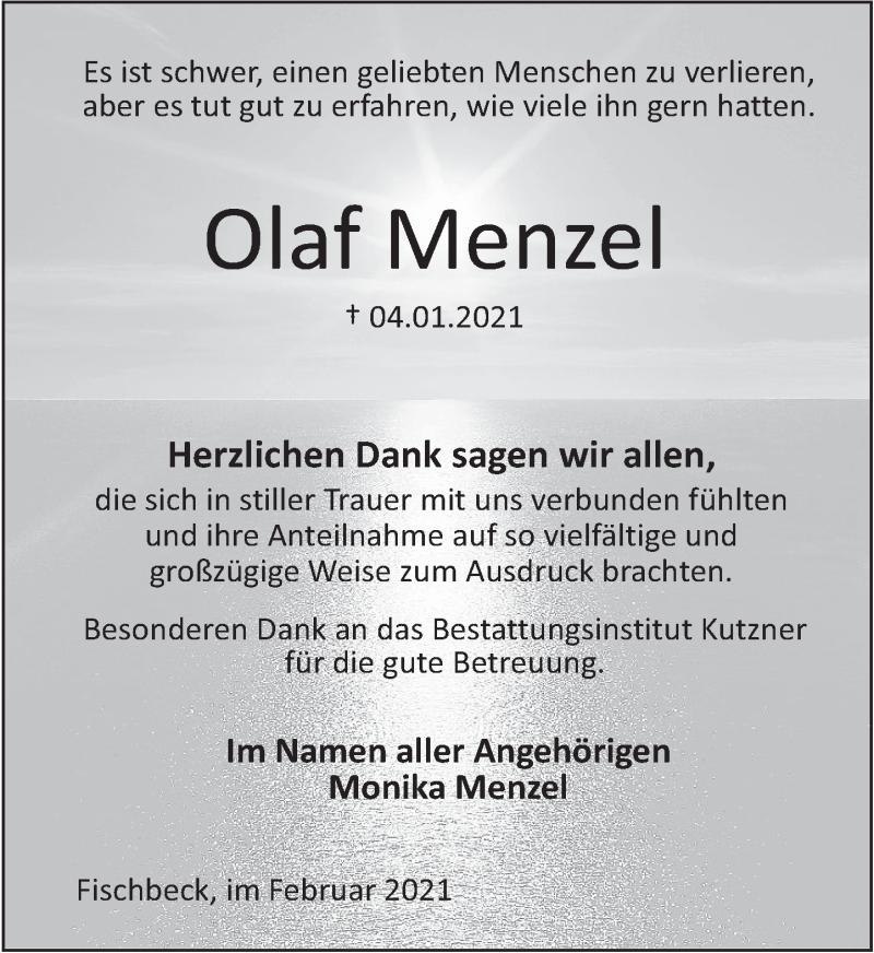 Traueranzeige für Olaf Menzel vom 06.02.2021 aus Deister- und Weserzeitung
