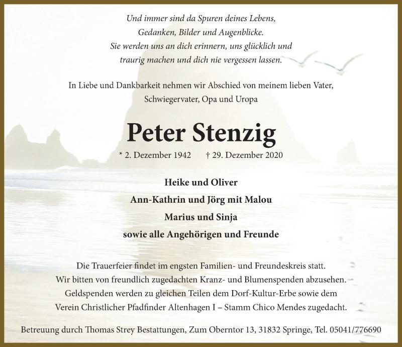 Traueranzeige für Peter Stenzig vom 09.01.2021 aus Neue Deister-Zeitung