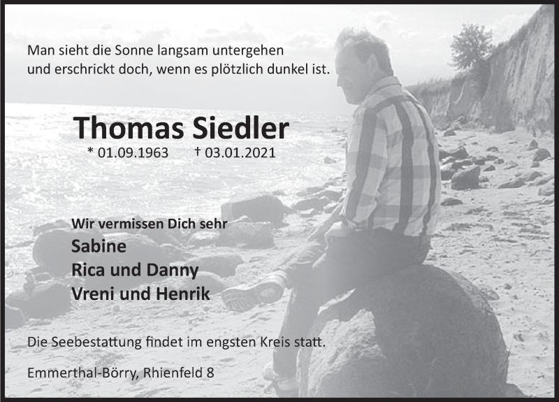 Traueranzeige für Thomas Siedler vom 09.01.2021 aus Deister- und Weserzeitung