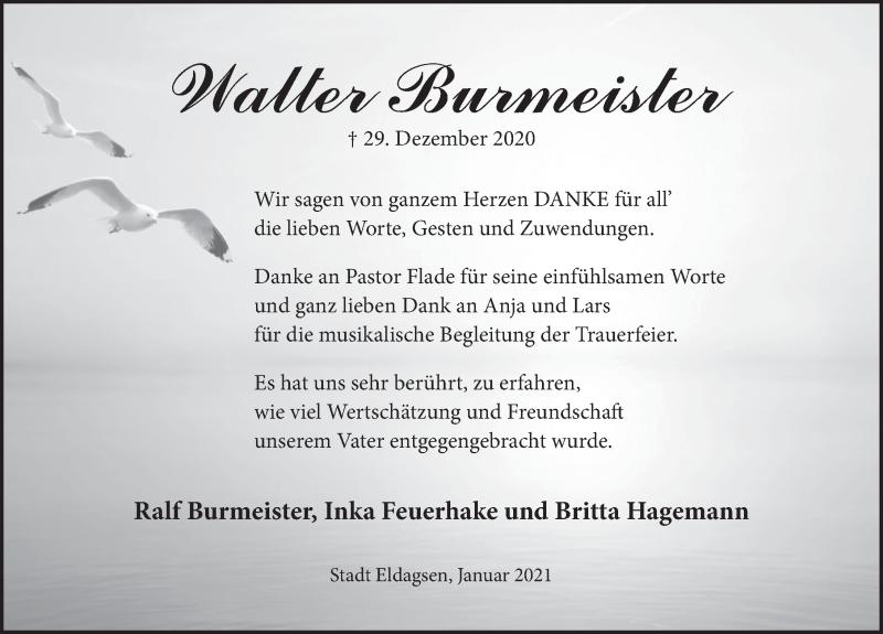 Traueranzeige für Walter Burmeister vom 16.01.2021 aus Neue Deister-Zeitung