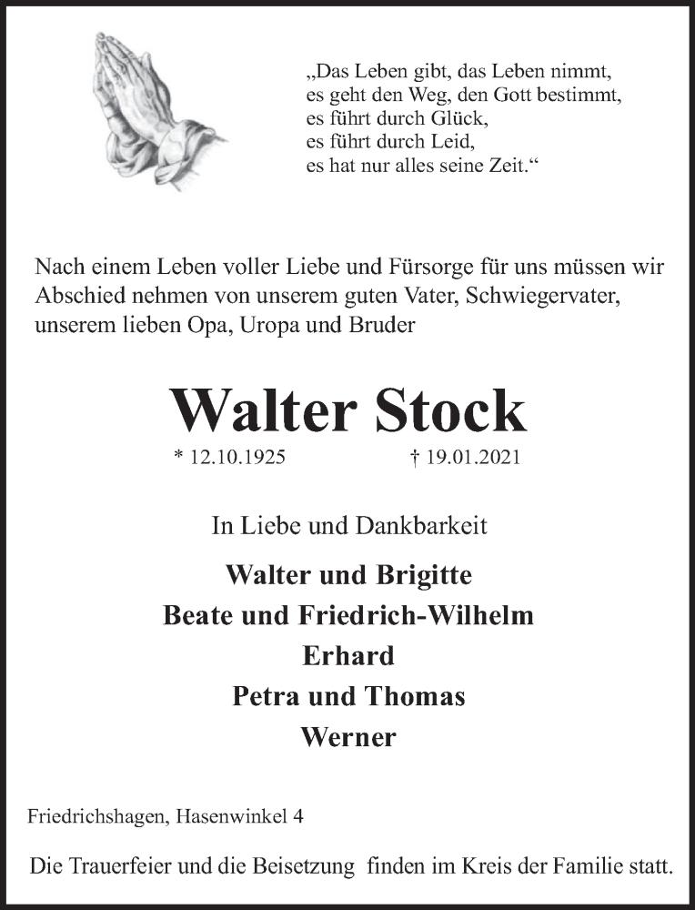 Traueranzeige für Walter Stock vom 23.01.2021 aus Deister- und Weserzeitung