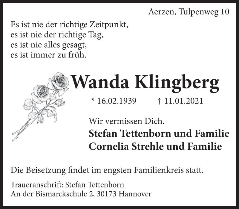 Traueranzeige für Wanda Klingberg vom 16.01.2021 aus Deister- und Weserzeitung