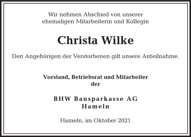 Traueranzeige für Christa Wilke vom 15.10.2021 aus Deister- und Weserzeitung