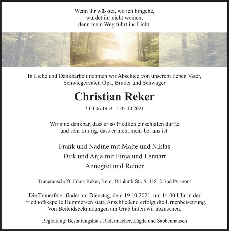 Traueranzeige für Christian Reker vom 09.10.2021 aus Deister- und Weserzeitung