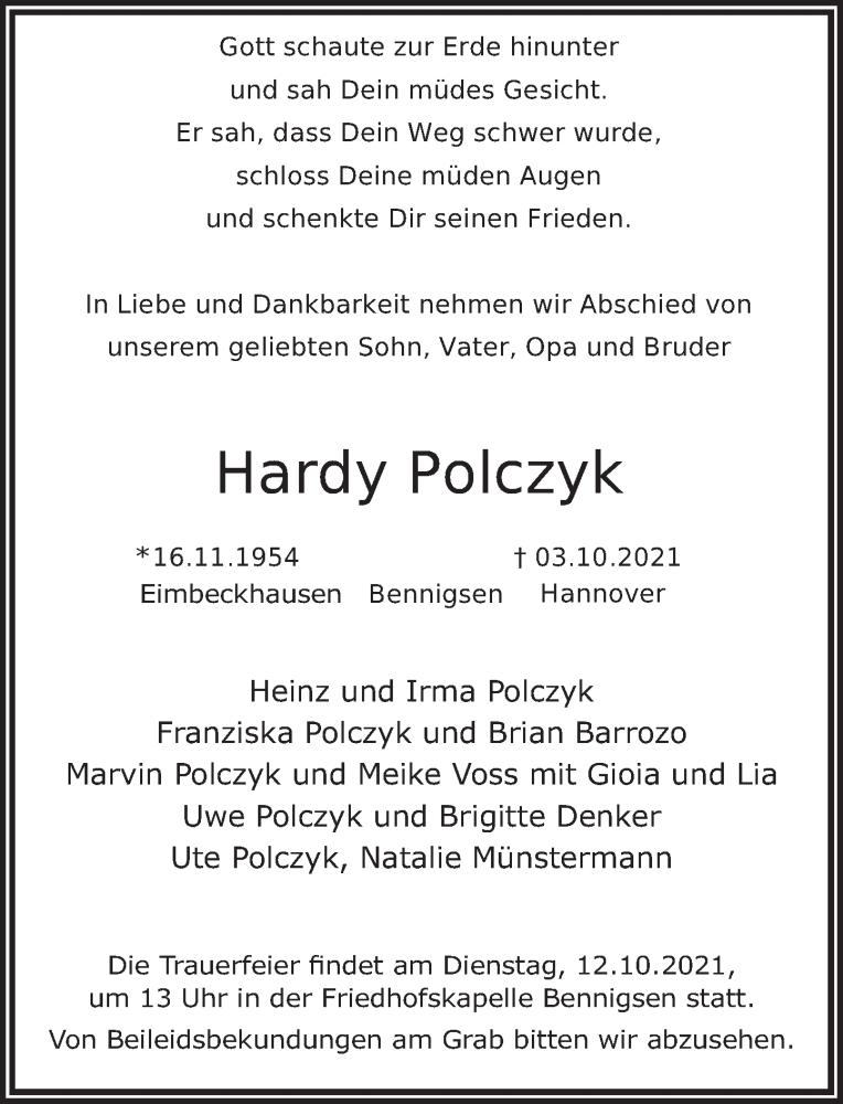 Traueranzeige für Hardy Polczyk vom 09.10.2021 aus Neue Deister-Zeitung