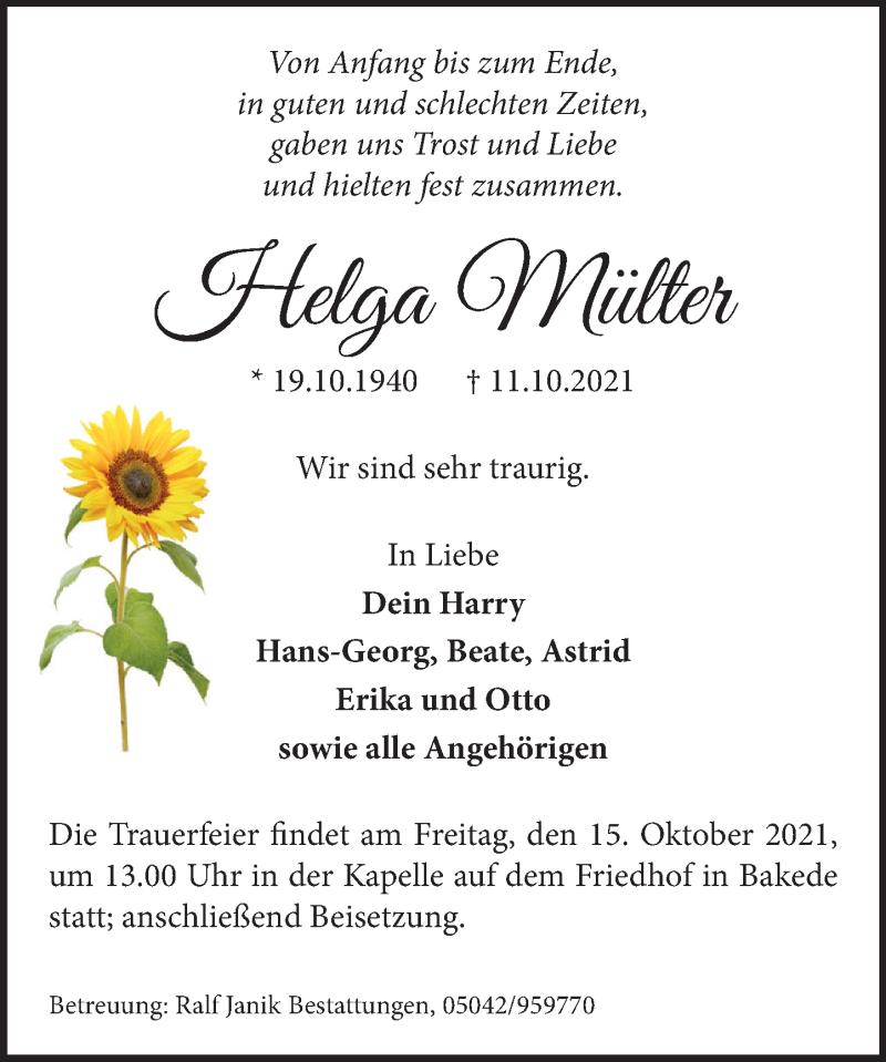 Traueranzeige für Helga Mülter vom 13.10.2021 aus Neue Deister-Zeitung