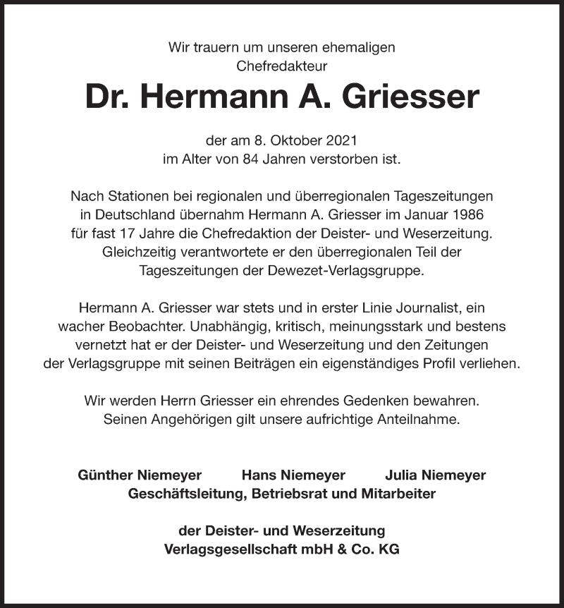 Traueranzeige für Hermann A. Griesser vom 13.10.2021 aus Deister- und Weserzeitung