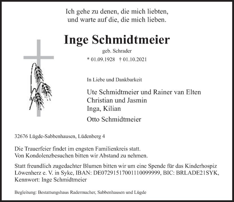 Traueranzeige für Inge Schmidtmeier vom 04.10.2021 aus Deister- und Weserzeitung