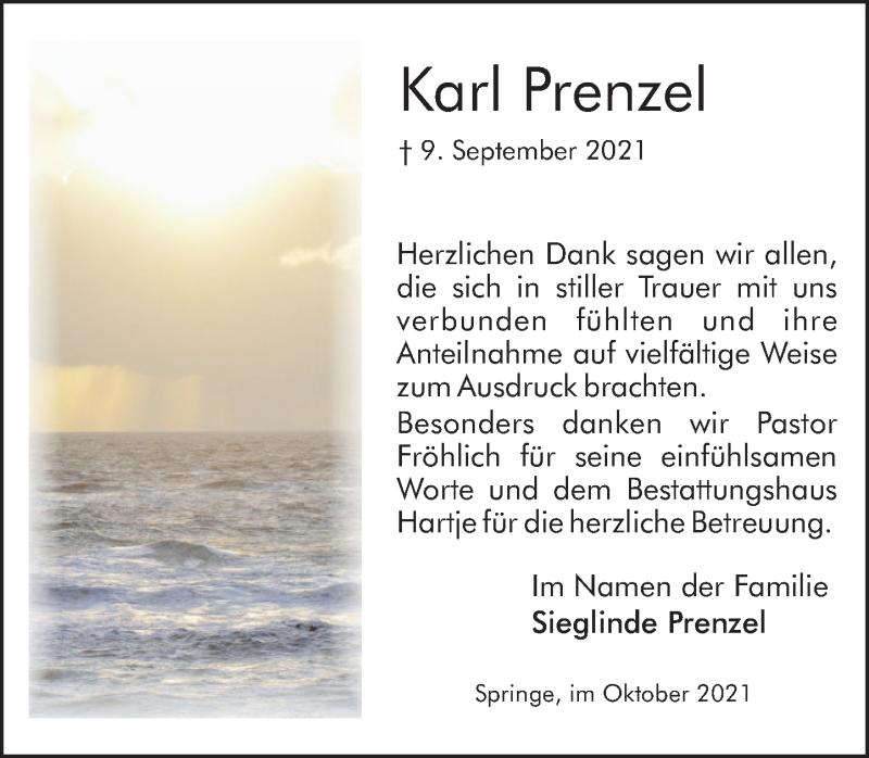 Traueranzeige für Karl Prenzel vom 09.10.2021 aus Neue Deister-Zeitung
