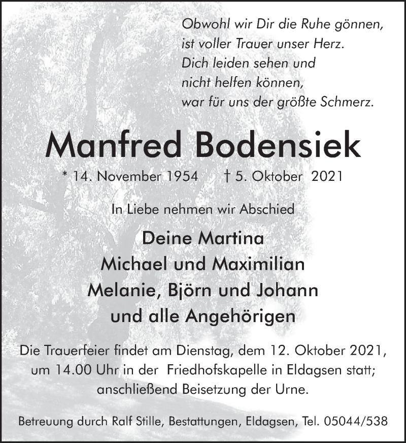 Traueranzeige für Manfred Bodensiek vom 09.10.2021 aus Neue Deister-Zeitung